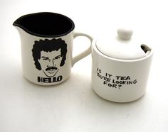 HELLO is it tea you're looking for Cream and Sugar set by LennyMud, $22.00