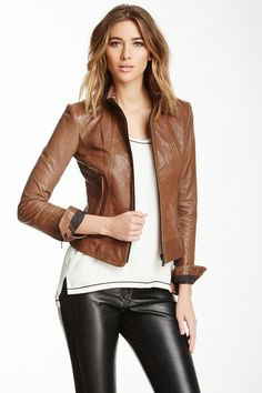 Cafe Leather Racer Jacket by Non Specific on @HauteLook