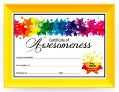 Kids awards certificates - Certificate of Awesomeness Use this free printable Certificate of Awesomeness to show your child how proud you are of them This generic certificate can be used for any occasion – Kids awards certificates Award Templates Free, Free Printable Certificate Templates, Certificate Of Achievement Template, Certificate Design Template, Certificate Of Recognition Template, Preschool Certificates, Free Certificates, Kids Awards, Student Awards