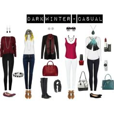 """Dark Winter - Casual"" by livinglifeincolour on Polyvore.  Please note that none of these pieces of clothing have been in person colour matched."