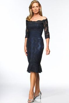 Column off-the-shoulder empire 3/4 length sleeves pleated navy lace tea-length Mother Of The Bride Dress MBD260015