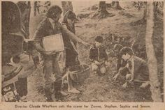 Local newspaper cutting of Claude Whatham rehearsing  scene from 'Swallows & Amazons' (1974)