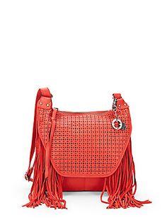 993ce43d5523 Fringed Leather Laser-Cut Bag Discount Designer Handbags