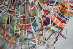 """(detail) Tangled Web by Andrea Myers 2011 machine sewn fabric collage 38x 44"""""""
