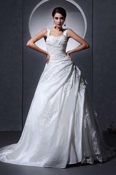 Straps Sweetheart Elegant White Bridal Dresses - Order Link: http://www.theweddingdresses.com/straps-sweetheart-elegant-white-bridal-dresses-twdn2889.html - Embellishments: Beading,Layered,Applique; Length: Chapel Train; Fabric: Taffeta; Waist: Natural - Price: 204.78USD