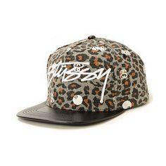 b80fd3acffa Stussy Leopard Logo Strapback Hat Fierce Animals