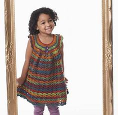 This adorable crochet dress pattern from Bernat has patterns sized for kids as young as 18 month or as old as about 6 years.