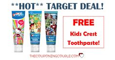 **HOT TARGET DEAL** Get FREE Kids Crest Toothpaste!  Stock up at Target!  Click the link below to get all of the details ► http://www.thecouponingcouple.com/hot-free-kids-crest-toothpaste-at-target/ #Coupons #Couponing #CouponCommunity  Visit us at http://www.thecouponingcouple.com for more great posts!