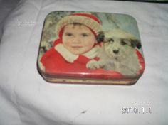 Scatola di latta bambino e cane