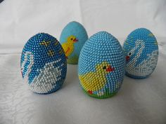 """Photo from album """"яйца"""" on Yandex. Origami Tutorial, Bead Crafts, Easter Crafts, Beading Patterns, Knit Crochet, Creations, Beads, My Love, Knitting"""