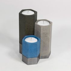 Concrete & Steel Hexagonal Candle Holders