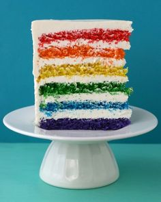 This bright and lively dessert will wow guests when you cut in and reveal the bright rainbow layers of cake. In this dessert, you color and bake 6 individual cakes to create the stunning effect. Get Martha Stewart's Rainbow Cake Recipe Recettes Martha Stewart, Martha Stewart Recipes, Beaux Desserts, Fun Desserts, Rainbow Desserts, Decors Pate A Sucre, Rainbow Layer Cakes, Cake Rainbow, Rainbow Food
