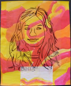 """2nd grade portraits - traced with Sharpie.  """"The students chose either warm or cool colors and created abstract paintings while I took their photographs one at a time.  During our next class we taped transparencies to the black and white photos that I printed for them and the students traced all the details they could find with Sharpies.  To complete them we made nametag titles and stapled the tracings to the paintings."""""""