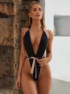 5db73526af2 Hot Products – bohoshow Contrast, Swimsuits, Nude, Color, Black, One Piece