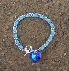 Blue Heart Bracelet by TheJewelryBoxe on Etsy