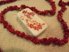 "Red Oriental Flowers Domino Necklace Jewelry On A 33"" Chain of Fire Red Stones #Handmade #Chain"