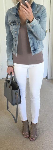 Denim Jacket White Jeans Beauty Hits and Misses - Denim And White - Ideas of Denim And White - Denim Jacket White Jeans Beauty Hits and Misses Jean Jacket Outfits, Jacket Jeans, White Jeans Outfit, Travel Clothes Women, Trendy Swimwear, Ripped Denim, Denim Fashion, Women's Fashion, Casual Outfits
