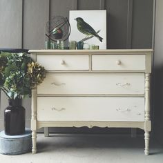 Bring out the beauty of your furniture and decor accents with the soft neutrals of Chalk Paint®! Beautiful vintage dresser by Annie Sloan Stockist Edwin Loy Home in Delaware, OH. It was hand painted with Country Grey and Old White Chalk Paint®.
