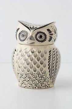 Hand painted Folk Owl Cookie Jar