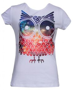 Womens Short-Sleeve Galaxy Owl T-Shirt - Black - X-Large