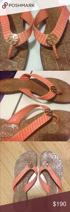 Tory Burch Coral Leather Sandals These are in excellent condition as can see in photo. I can lower a little more via Ⓜ️ercari. Only worn once. Tory Burch Shoes Flats & Loafers