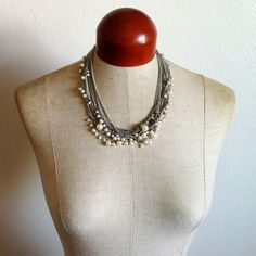Silver Chain Pearl Necklace- Etsy $45
