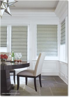 See the latest in Hunter Douglas blinds and shades at Austin Window Fashions. We carry Hunter Douglas Silhouette, Duette and more in our Showroom. Hunter Douglas, Modern Roman Shades, Custom Blinds, Shades Blinds, Shades Window, Beautiful Dining Rooms, Custom Window Treatments, Blinds For Windows, Window Blinds