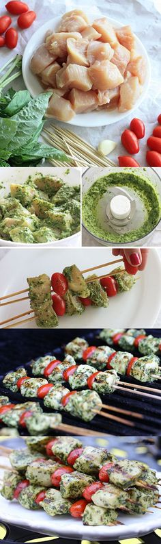Perfect Grilled Pesto Chicken and Tomato Kebabs. This Recipe Is Healthy  SO Delicious...sub red peps for tomatoes?