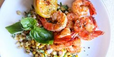 Lemon Shrimp with Basil-Corn Salad Recipe