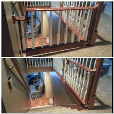 is this going too far? if for dogs too I guess it's use would go beyond the toddler/baby years. Baby gate / Dog gate at top of stairs Staircase Gate, Top Of Stairs Gate, Baby Gate For Stairs, Diy Baby Gate, Stair Gate, Baby Gates, Stairways, Dog Gates, Child Gates