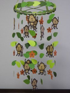 Monkey Baby Paper Mobile by whimsicalaccents Jungle Party, Jungle Theme, Monkey Decorations, Monkey Crafts, Monkey Pictures, Fun Crafts, Paper Crafts, Paper Mobile, Cricut Creations