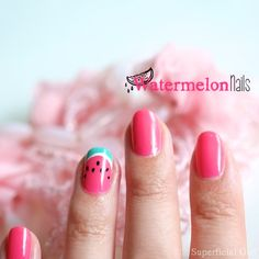 Nail art to match her watermelon birthday Love Nails, Pretty Nails, Watermelon Nail Art, Watermelon Patch, Nail Art Designs, Nail Art Vernis, Beauty Tips Home Remedy, Birthday Nail Art, Watermelon Birthday Parties