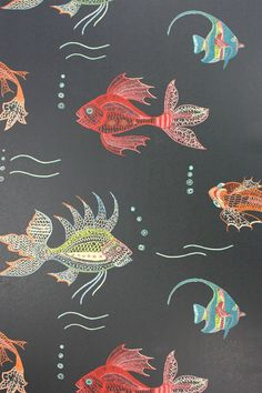 Aquarium Wallpaper in Black and Multi-Color from the Perroquet Collection by Nina Campbell at Burkedecor – BURKE DECOR Animal Wallpaper, Fabric Wallpaper, Wall Wallpaper, Pattern Wallpaper, Wallpaper Ideas, Fish Wallpaper Iphone, Goldfish Wallpaper, Bathroom Wallpaper Fish, Wallpaper Headboard
