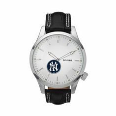 Sophisticated style meets New York Yankees sports nut with this handsome men's Icon leather watch from Sparo. Man Icon, San Diego Chargers, Minnesota Twins, Cincinnati Reds, Cleveland Indians, Houston Texans, Dallas Cowboys, Sophisticated Style, Automatic Watch