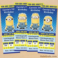 free minion ticket invites FREE Printable Despicable Me Minion Ticket Invitations