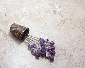 Set of 6 Purple and amethyst Swarovski decorative straight pins with silver for sewing room, craft room, and wedding decor TAGT