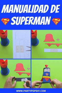 Manualidad Superman con rollos de papel para hacer con niños #manualidades #rollosdepapel #superman #superheroes #reciclaje #manualidadessencillas
