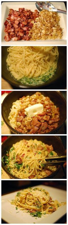 Pasta Carbonara - Healthy, Quick and Inexpensive. This dish is flavorful without all of the extra calories! A great meal for a busy day! Sub gf pasta Pasta Recipes, Dinner Recipes, Cooking Recipes, Healthy Recipes, Recipe Pasta, Yummy Recipes, Healthy Snacks, Pasta Carbonara, Gastronomia