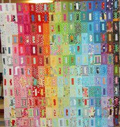 Quilt top #patchwork #quilt #quilting #scrap-quilt #rainbow Love the shading!