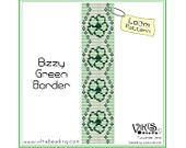 Loom Pattern: Bizzy Green Border - for cuff bracelet - INSTANT DOWNLOAD pdf - Multibuy savings with coupon codes - bl98