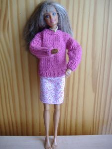 Pull coll rond pour Barbie