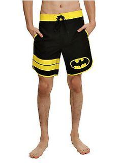 <p>Lightweight swim trunks from DC Comics with a Batman logo design. Drawstring and hook and loop fastening tape closure.</p><ul><li>100% polyester</li><li>Wash cold; dry low</li><li>Imported</li></ul>