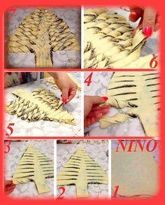 pan brioche a forma di albero di natale