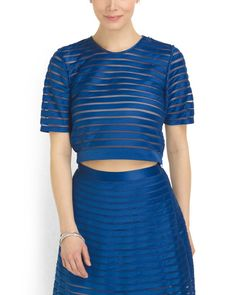 Mesh Striped Cropped Top