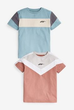 Multi 2 Pack Colourblock T-Shirts (3-16yrs) London Spring, How To Have Twins, Next Uk, Uk Online, Looks Great, Tees, Mens Tops, T Shirt, Cotton