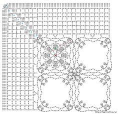 Masa örtüsü örme ve yastık kanca süsleyin.  Şema (2) (648x627, 317KB) Crochet Doily Diagram, Crochet Doily Patterns, Crochet Blocks, Crochet Borders, Crochet Squares, Crochet Granny, Crochet Motif, Crochet Doilies, Crochet Stitches