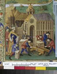 Construction du Temple, BNF, Latin 4915, fol. 46v, 1447-1455