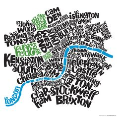 Typographic map of Central London.
