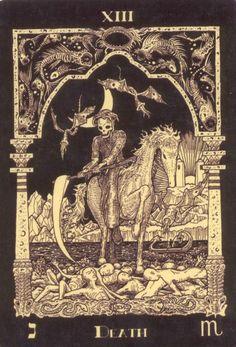 Death from the Azathoth tarot {not a devil but in the same vein} Tarot Death, Tarot Major Arcana, Love Tarot, Danse Macabre, Cartomancy, Tarot Readers, Illustrations, Tarot Cards, Occult