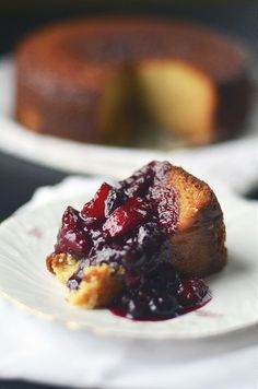 Yogurt Cake w/ Peach Blueberry Compote